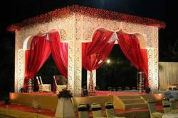 Red & White Mandap Stage