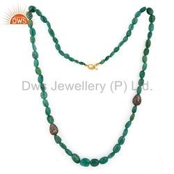 Beaded Emerald Gemstone Pave Diamond Necklace Jewelry