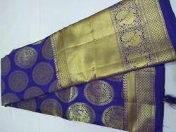 Pure Kanchi Pattu Silk Saree and Blouse, Length: 6.3 m