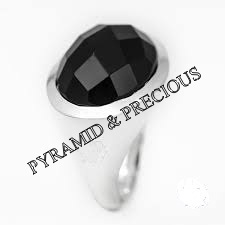 Black Onyx Rose Cut Silver Ring