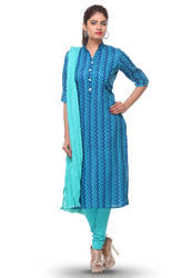 Printed Cotton Straight Cut Suit In Blue