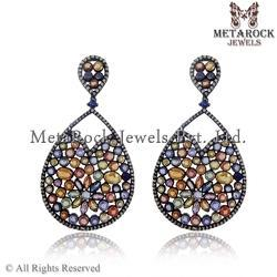 Multi Sapphire Pave Diamond Dangle Earrings