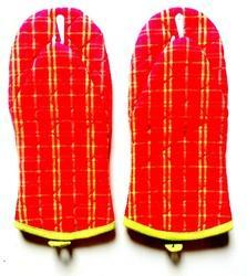 Yellow Stripe Red Mitten