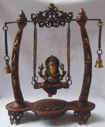 Brass Ganesh Jhula Statue