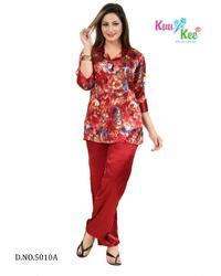 Full Length Red KuuKee 5010 Satin Printed Night Suit, Size: Free
