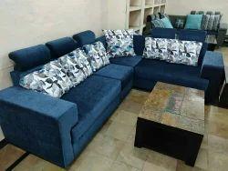 Wood Blue L Type Sofa