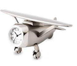 Metal Desktop Aeroplane Clock
