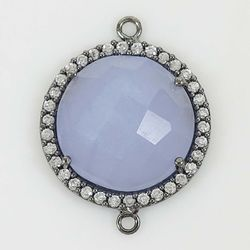 Chalcedony Pave Set Gemstone Connector Charm