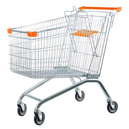 Stainless Steel Four-wheel Supermarket Trolley