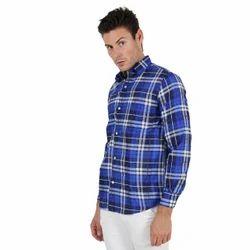 Porttrait Cotton Blue Check Shirt