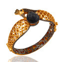 Gemstone Pave Diamond Traditional Bangle