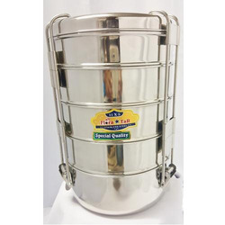 Vanshika Steel Center Silver Steel Travelling Tiffin Box