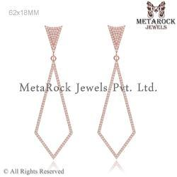 14K Rose Gold Pave Diamond Hanging Earrings Jewelry