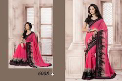 Trendy Red And Black Saree