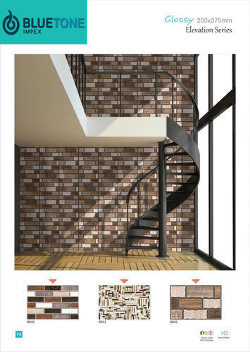 Ceramic Designer Exterior Wall Tiles Thickness 6 8 Mm Size
