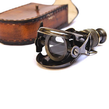 Antique Finished & Brown Brass Binocular With Leather Case