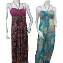 Chiffon And Cotton Print Beach Wear Dress.