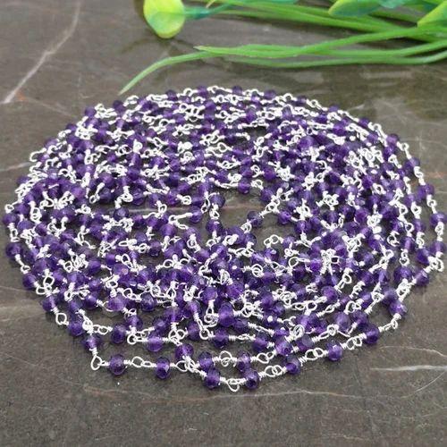 Amethyst Sterling Silver Gemstone Beaded Chain