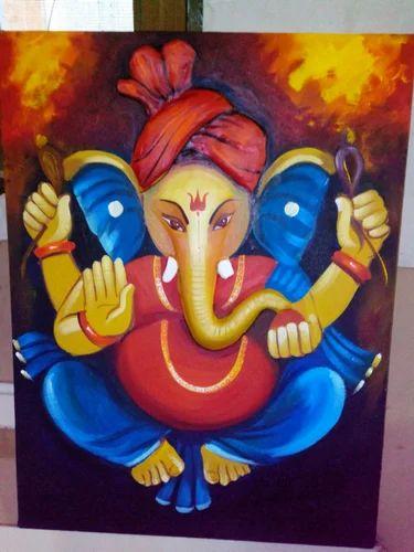 Handmade Ganesh Painting Canvas Paintings