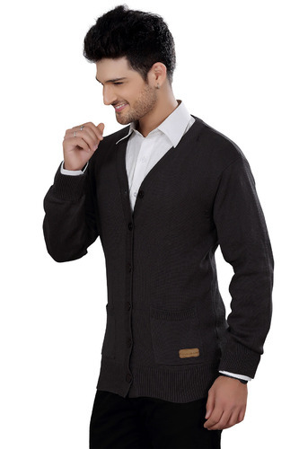 Elegance Cut Dark Grey Cotton Men' s Cardigan