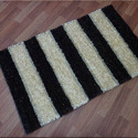 Black and White Rectangular Polyester Shaggy Carpet