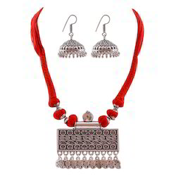 Party Wear Brass Silver Plated Necklace Set