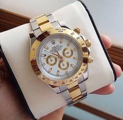 Golden Silver Male Rolex Daytona Watch