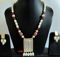 Pearl and Thewa Pendant Necklace Set