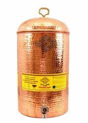 Indian Art Villa Pure Copper Hammered 12 Liter Water Pot