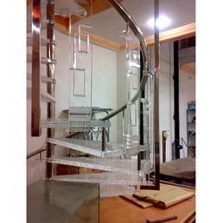 Modern Spiral SS Glass Railing