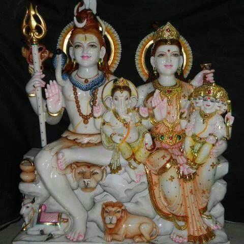 Multicolor Colored Lord Shiva Parvati Family Statue