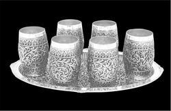 Metal Silver Glass Set, For Home