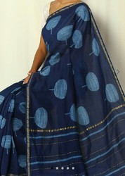 Blue Indigo Chanderi Silk Saree