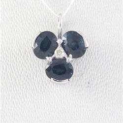 Sapphire Diamond White Gold Pendent