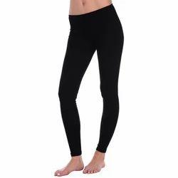 Stretchable Black Cotton Leggings