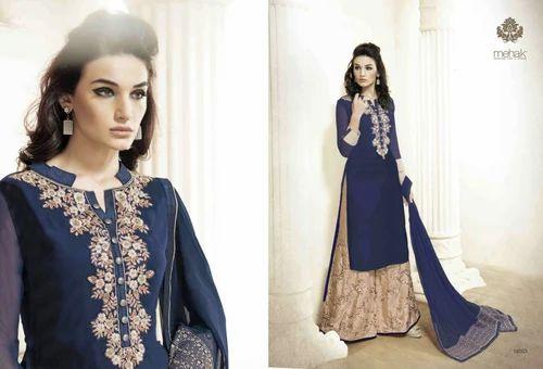 a185b53498 Navy Blue And Beige Designer Palazzo Suit, Designer Suits ...