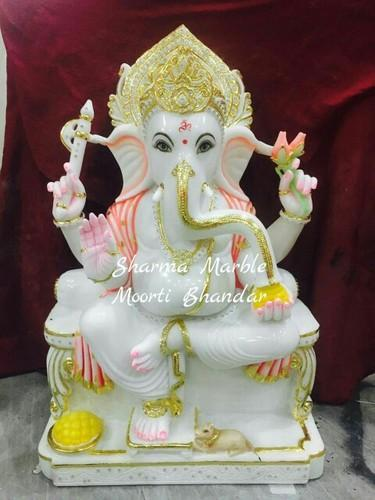 White Marble Ganesha Moorti Makrana Marble Ganesha