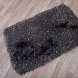 Black Rectangular Polyester Shaggy Carpet