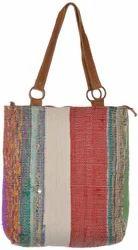 Handmade Multicolor Carpet Style Leather Handle Big Size Bag