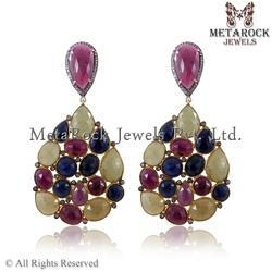 Pave Diamond Multi Sapphire Dangle Earrings
