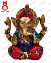 Lord Ganesh Carved W/Big Ears & Stone Work Statue