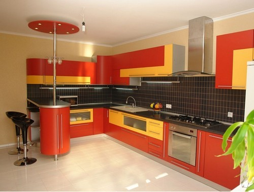 Red And Yellow 12feet X 2 5feet Modular Kitchen