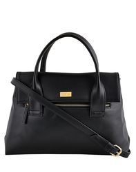 Yellow Black Synthetic Leather Hand Bag With Front Zipper