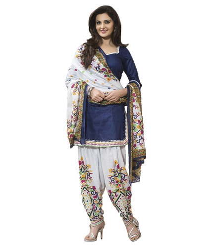 Chiffon Embroidered Salwar Suit, Size: M & XL