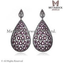 Ruby Gemstone Pear Shape Silver Earring