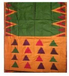 Semi Cotton Big Temple Green Color Saree