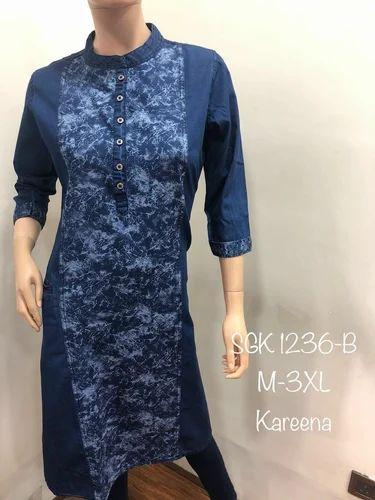 formal stitched denim kurti rs 500 piece puja fashion id