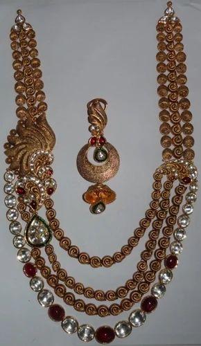 Antique Long Gold Kundan Necklace Set
