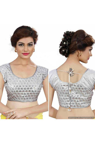 708ed072a988e Stitched As Shown Party Wear Dupion Blouse With Sequence Blouse ...
