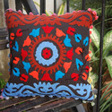 Cotton Printed Suzani Embroidery Cushion Cover, Size: 42*42 Inch , Shape: Square